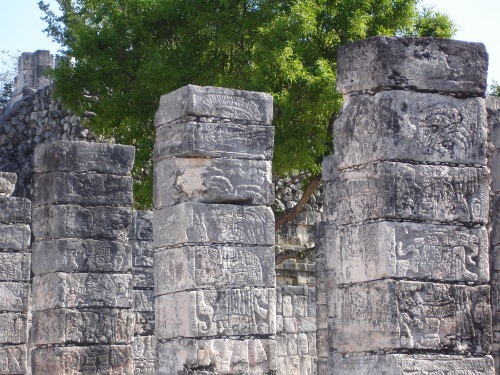 Glyphs on the columns of the marketplace, Chichen Itza, Yucatan, Mexico; Photo:KFawcett