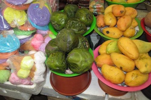 Meringues, black sapotes, mangoes at Merida Market, Merida, Yucatan, Mexico; Photo:KFawcett