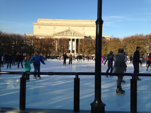 Ice skaters at the National Mall in DC; Photo:KFawcett